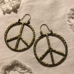 Gold Lucky Brand Peace Sign Earrings